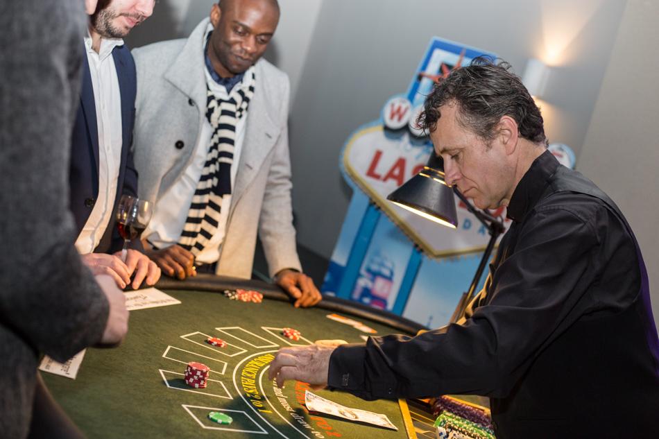 Croupier Jim behind the Black Jack table in London.