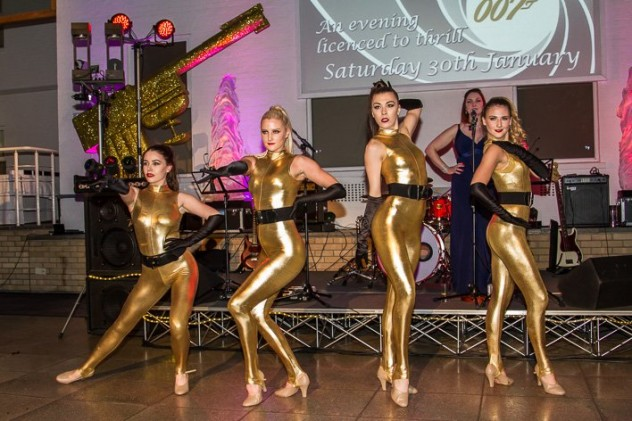 Themed dancers in gold provided by Platinum Entertainment Agency