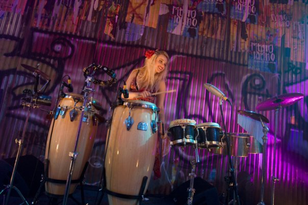 DJ Percussionist Lyndsay performing on the Drums for Platinum Entertainment Agency
