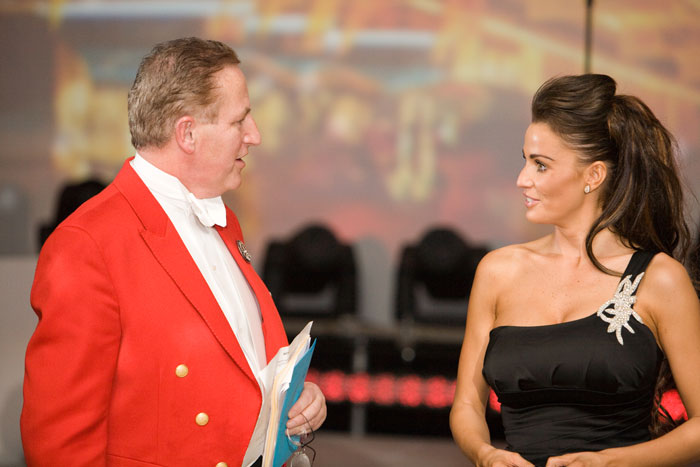 Toastmaster David In conversation with Katie Price.